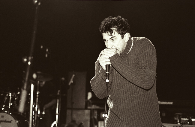 Phil Daniels live onstage with Blur at Brixton Academy 2003