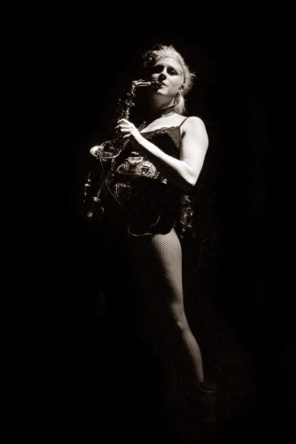 Natalie Verhaegen Sax Player in The Circus of Horrors