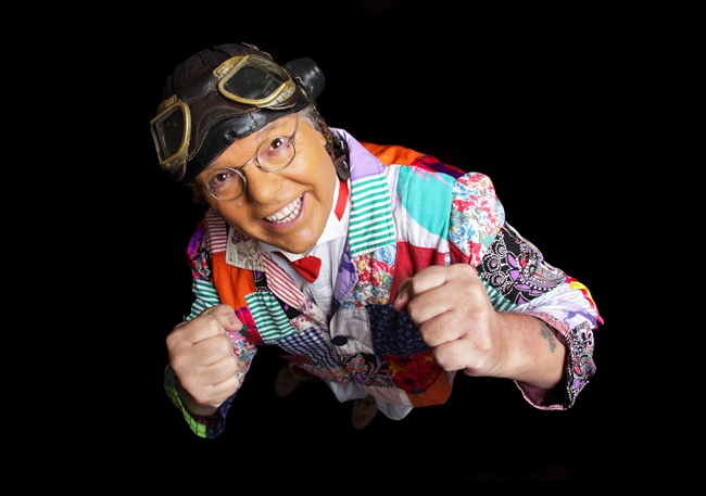 Roy Chubby Brown poses as if boxing in Scarborough.
