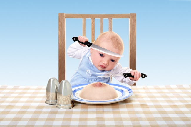Taffeta, a three week old baby enjoys her dinner but it's pretty painful for Mum!