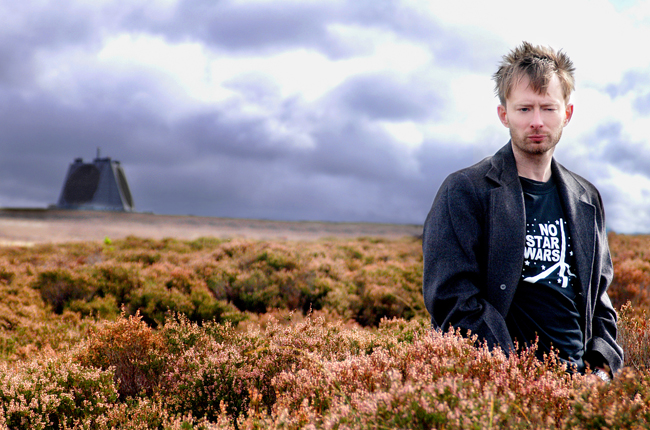 Radiohead's Thom Yorke at the Star Wars Protest Fylingdales Early Warning Station North Yorkshire