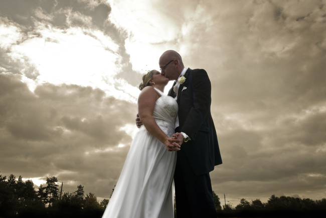 The Bride and Groom at Sunset