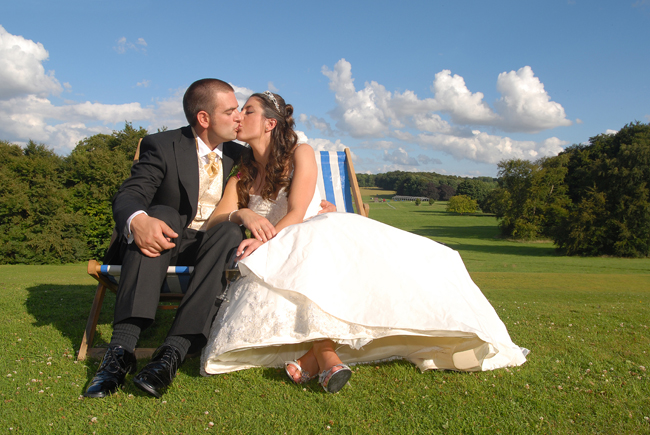 The Bride and Groom on deckchairs